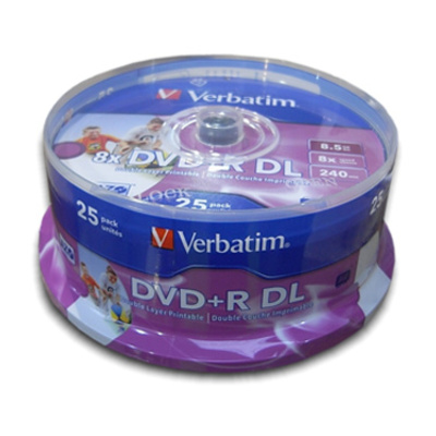 VERBATIM DVD R 8x DUAL Layer Printable 25 Pack
