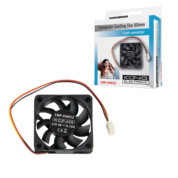Konig  60mm Cooling Fan Sleeve Bearing With 3Pin Power Conector