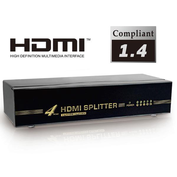 Dynamode  4 PORT HDMI Signal Splitter - Amplified HDMI Duplicates one signal to 4 HDMI TVs