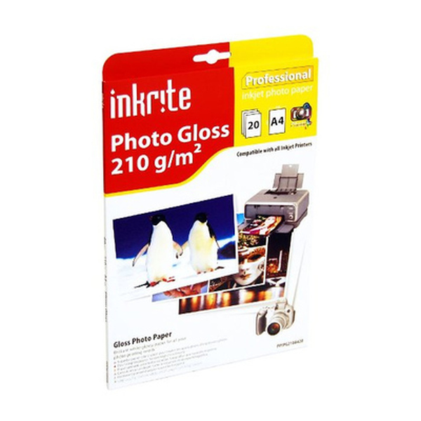 Inkrite  Photo Plus Gloss Paper 210gsm A4 x20 Sheets