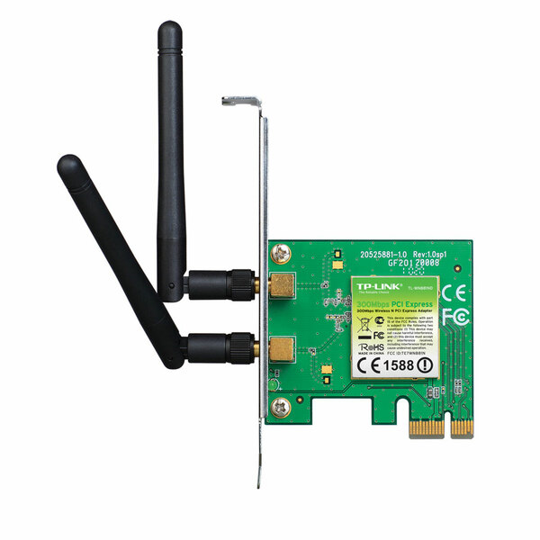 TP-LINK  300Mbps Wireless PCI-Express Adaptor, With 2 Detachable Antennas, low profile bracket included