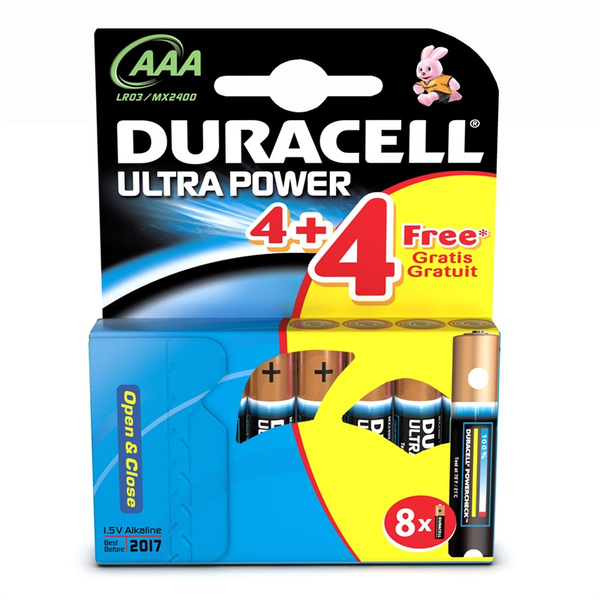 Duracell  Ultra Power A AA Batteries 4 Pack + 4 Free