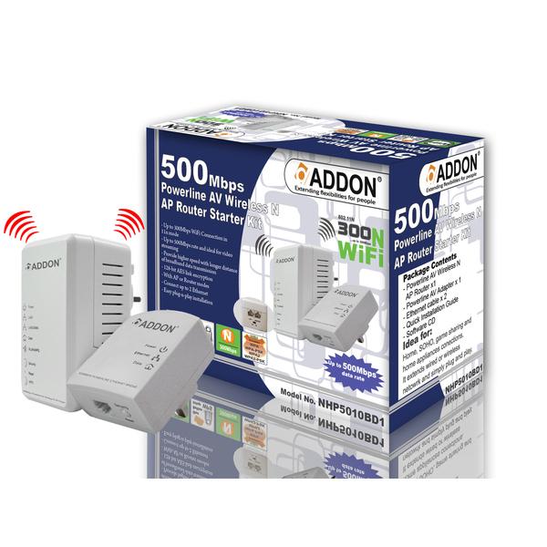 Addon  500Mbps Power Line AV Wireless AP Router Starter Kit