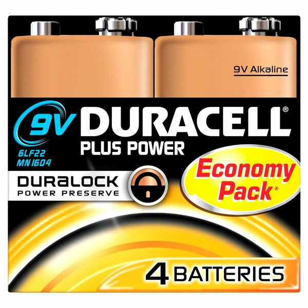 Duracell  Duracel Plus Power 9v Battery 4 Pack