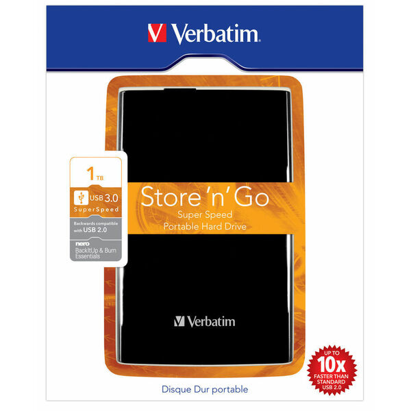 Verbatim  1TB USB 3.0 2.5 Inch Portable Hard Drive - Store n Go