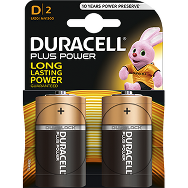 Duracell MN1300B2 Duracell Plus Power D Size (Pack of 2) battery pack