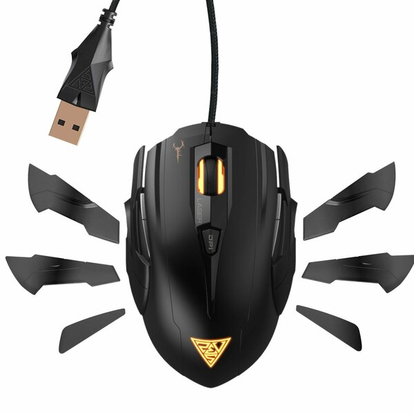 Gamdias  Hades Extension  Black 8 Buttons 1 x Wheel USB Wired Laser 8200 dpi Gaming Mouse
