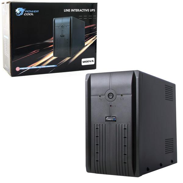 PowerCool  Smart Ups 1200Va 3 X Uk Plug, 3 X Iec, Rj45 X 2, USB Led Display