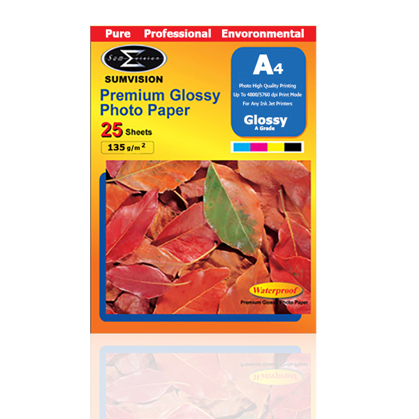 Sumvision  135 Gm Glossy A4 Photo Paper- 25x pack