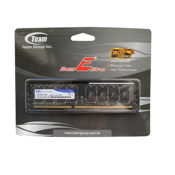 Team Group  4Gb 1600Mhz DDR3 Module -1600MHz - Retail Boxed