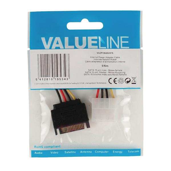Value Line  Internal Power Cable SATA 15-Pin Male - Molex Female 0.15 m