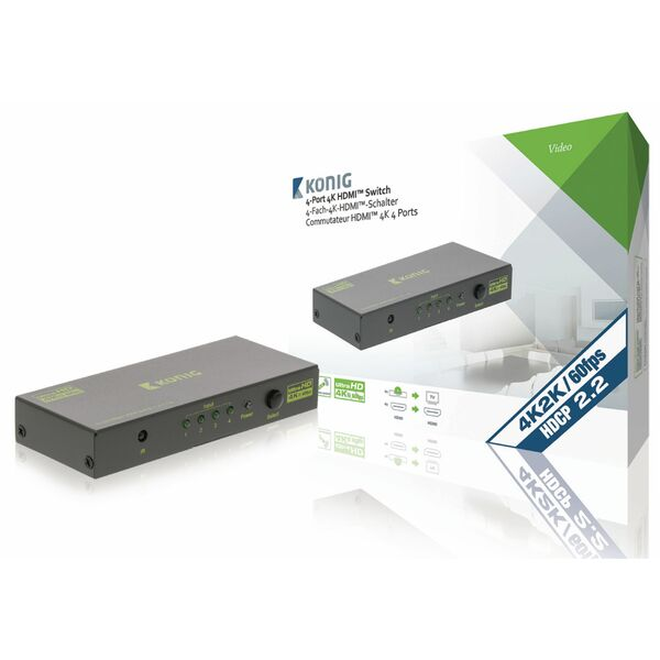 Konig  4-Port Ultra HD HDMI Switch Dark Grey - Connect 4 Ultra HD HDMI sources to a single