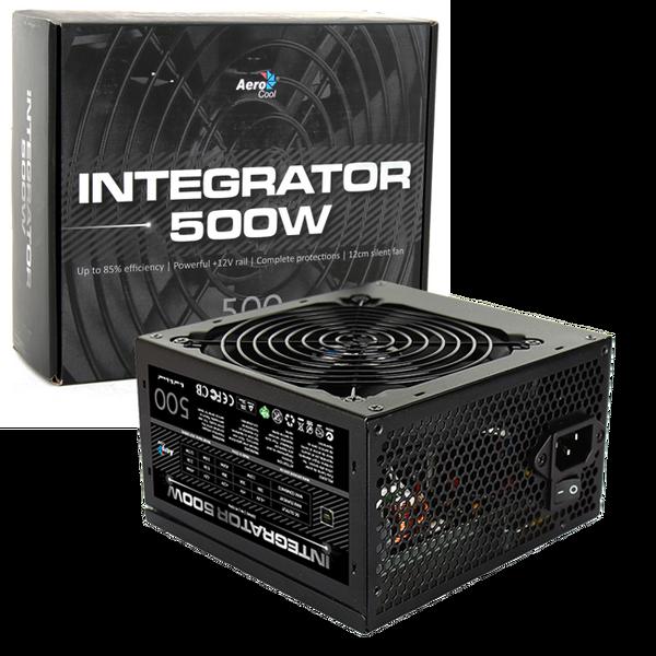 Aerocool  Integrator 500W PSU 12cm Black Fan Active PFC TW Caps UK Cable - Retail Boxed