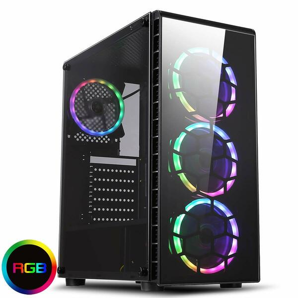 CIT  Raider Gaming Case 4 x Halo Spectrum RGB Fans Glass Front and Side with ASUS MB SYNC (Compatible Motherboard Required)