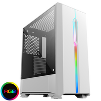GameMax  Solar White RGB Midi Tempered Glass Gaming Case MB SYNC 3 pin