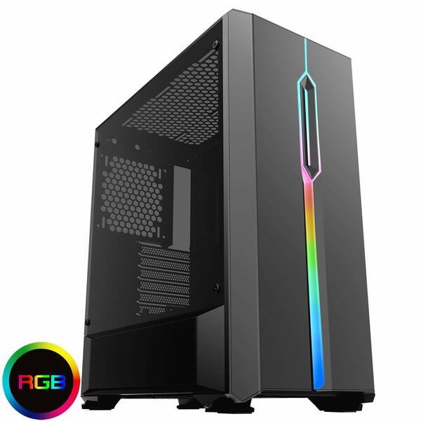 GameMax Game Max  Solar RGB Midi Tempered Glass Gaming Case MB SYNC 3pin - Black