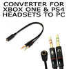 Generic  High Performance 3.5mm Female to Dual Male Earphone Mic Audio Y Converter Flat * converts XBOX / PS4 To PC Mic and Headphone Jacks Image