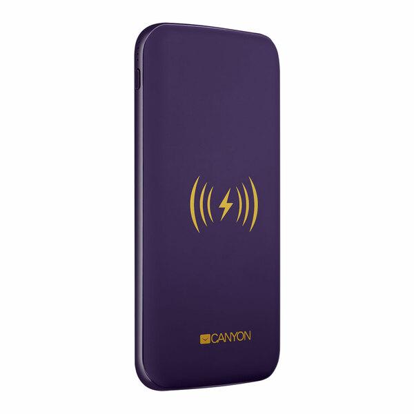 Canyon  8000mAh Powerbank USB-C/Micro-USB and With Wireless Charging - Purple