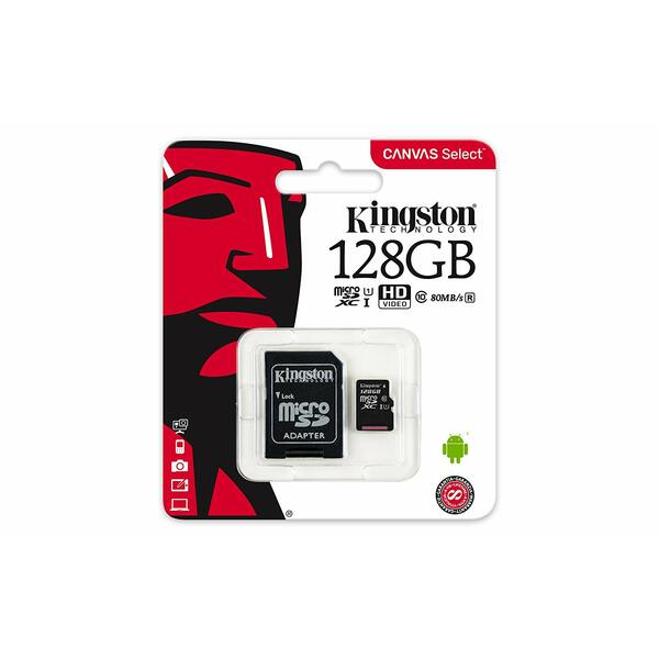 Kingston  Canvas Select Class 10 UHS-I speeds Up to 80 MB/s Read  (Micro SD with SD Adapter Included)