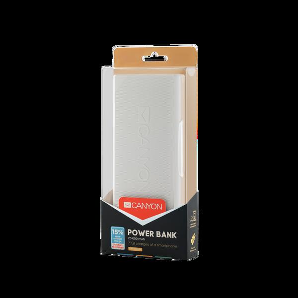 Canyon  20000mAh Powerbank Micro-USB - White
