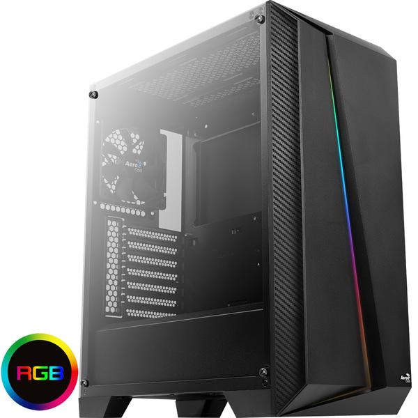 Aerocool ACOOLCSCYLONPROTG Cylon Pro Black RGB LED Midi Case with Tempered Glass Panel
