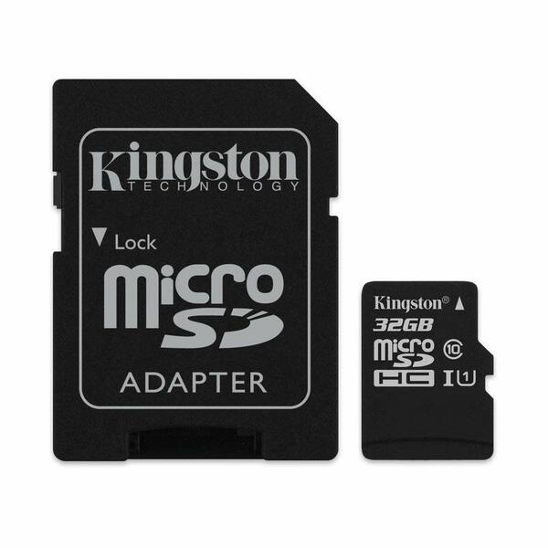 Kingston  32GB Canvas Select Class 10 speeds Up to 100 MB/s Read  (Micro SD with SD Adapter Included)