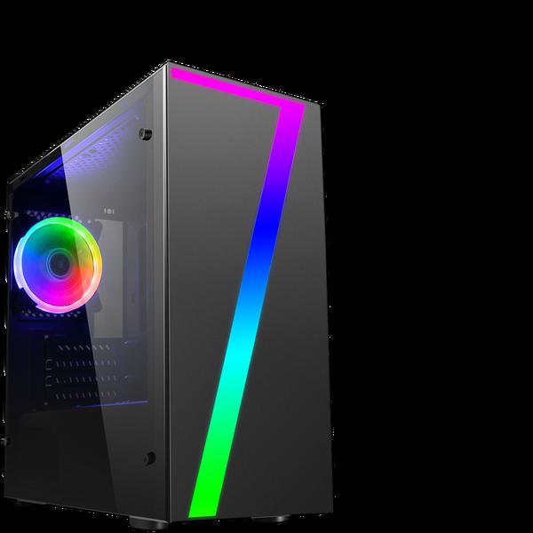 CIT  Seven MATX Gaming Case Rainbow RGB Strip 1 x Rainbow RGB Fan Acrylic Side