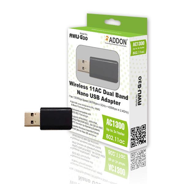 Addon  1300Mbps AC Dual Band USB Nano Wireless Adaptor