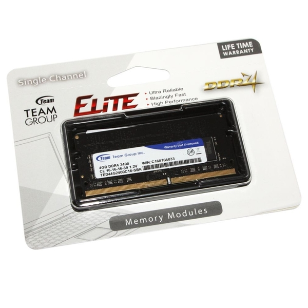 Team Group  4GB No Heatsink (1 x 4GB) DDR4 2400MHz SODIMM System Memory