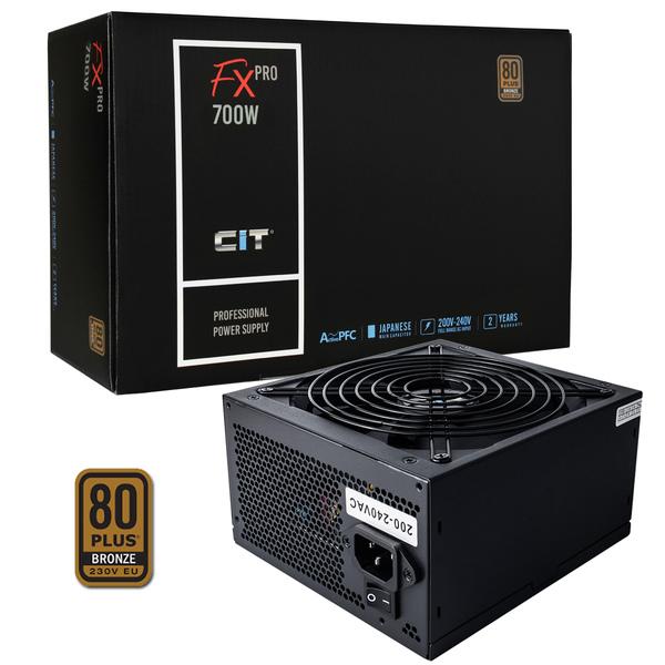 CIT  700W FX Pro 14cm Fan APFC 80plus Bronze PSU - 56 amp Single Rail