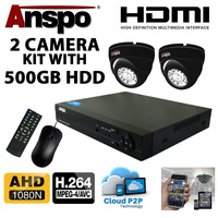 Anspo DVR4WAY-500GB-K 4 Channel DVR/NVR CCTV/720p/1080N) - 500GB HDD PSU and 2 cameras Kit -  SPECIAL OFFER