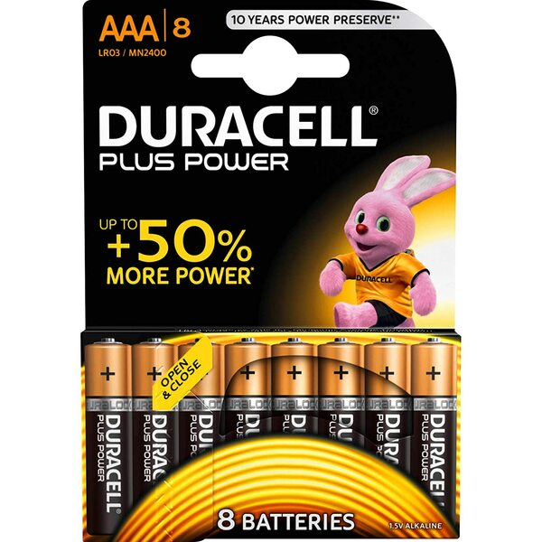 Duracell MN2400B8 Plus Power AAA 8 Pack