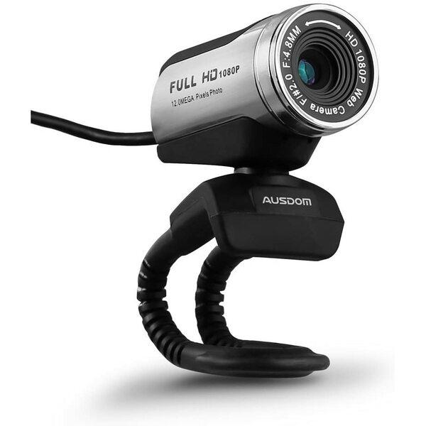 AUSDOM AW615 12.0M 720P/1080P HD USB Webcam with Microphone for Laptop / Desktop / Skype / MSN, Auto Exposure, Digital Zoom, Clip-On + Freestanding