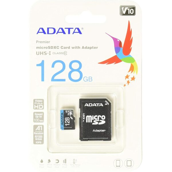 Adata  128GB Premier Micro SDXC Card with SD Adapter, UHS-I Class 10 with A1 Ap