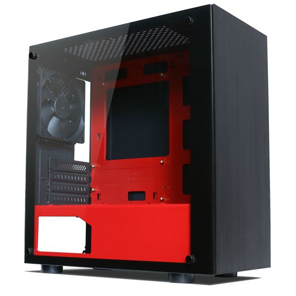 Tecware  Nexus M - Mini Tower Black / Red - TG Side Pannel