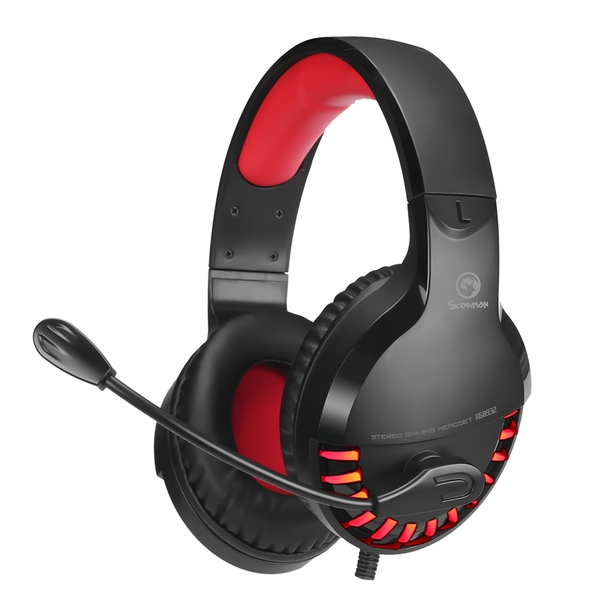 MARVO  Stereo Sound Gaming Headset with USB Powered Red Lighting