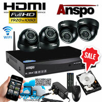 Anspo  4 Channel DVR/NVR CCTV - 1000GB HDD PSU and 4 cameras Wired Kit With Wi-Fi Dongle