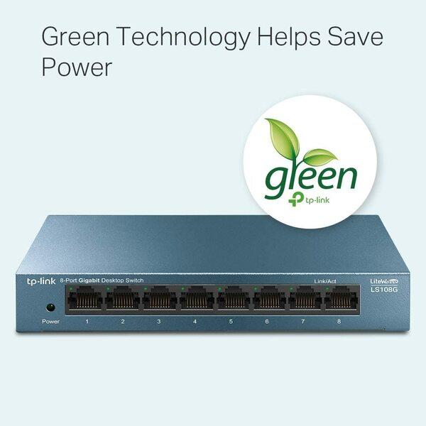 TP-LINK  8 Port Gigabit Lite Wave unmagnaged Desktop Switch - Steel