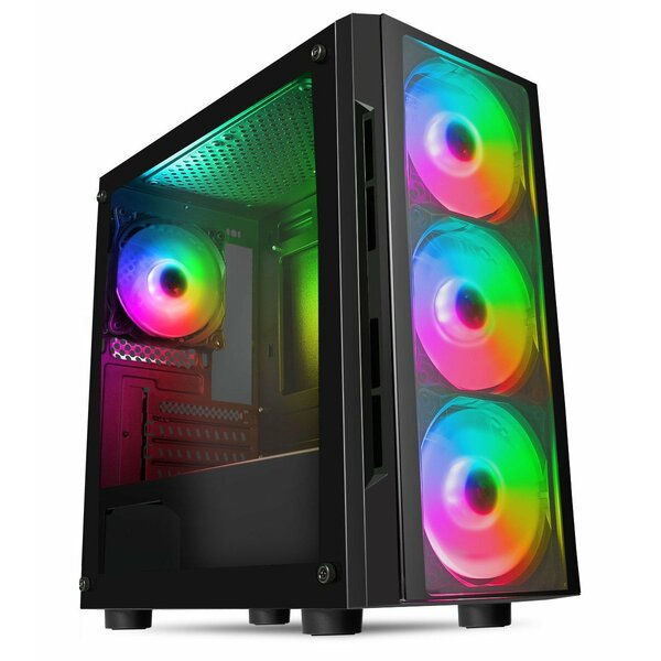 CIT  FLASH Tempered Glass Gaming Case with 4x ARGB Fans