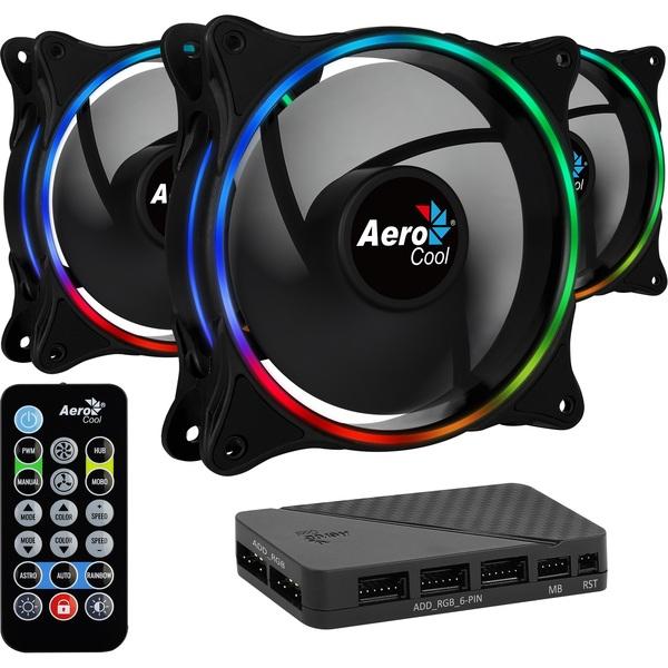 Aerocool ACF3-EL10217.12 Eclipse 12 Pro 120 MM ARGB FANS x 3 with H66F RGB Control Hub and Remote   - Special Offer