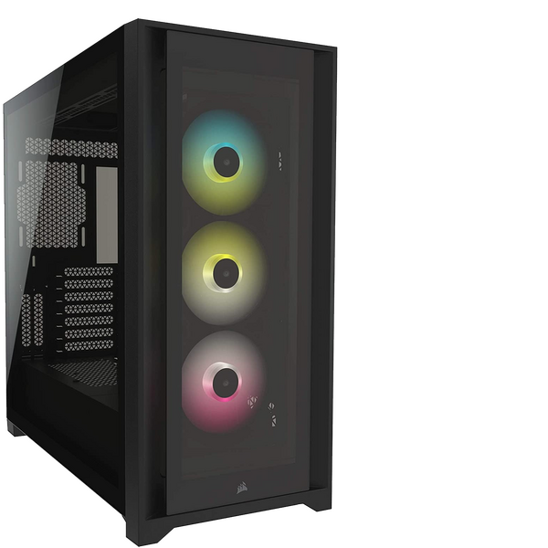 Corsair  iCUE 5000X RGB Gaming Case with 4x Tempered Glass Panels, E-ATX, 3 x AirGuide RGB Fans, Lighting Node CORE included, USB-C, Black