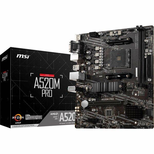MSI  AMD A520 (Socket AM4) RYZEN DDR4 Micro ATX Motherboard