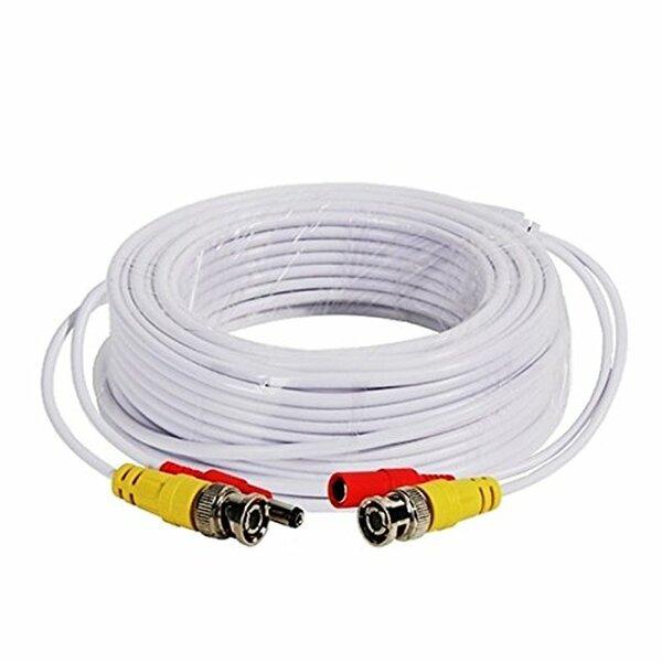 Generic  15M BNC Plug + Play Video Power shotgun Cable For CCTV Cameras - White