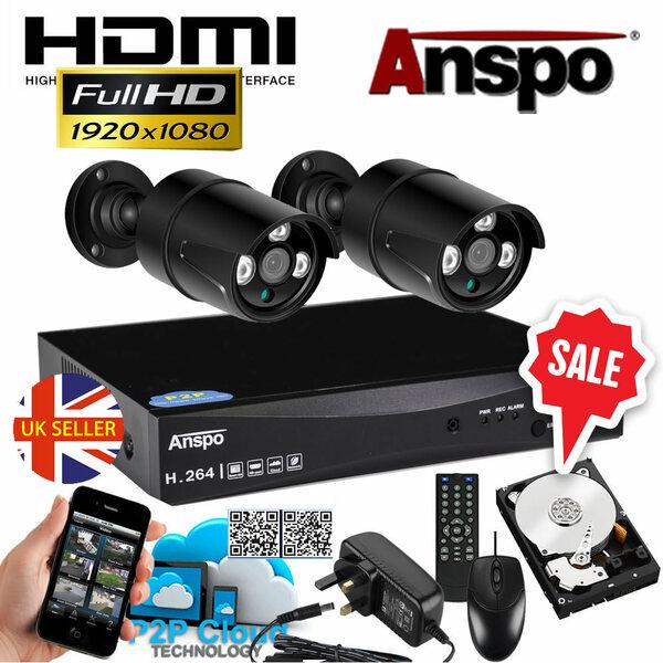 Anspo  4 Channel DVR/NVR CCTV - 500GB HDD PSU and 2 Bullet cameras Kit - Special Offer