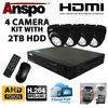 Anspo  4 Channel DVR/NVR CCTV - 2000GB HDD PSU and 4 cameras Kit Image