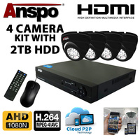 Anspo  4 Channel DVR/NVR CCTV - 2000GB HDD PSU and 4 cameras Kit