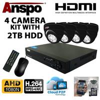 Anspo  4 Channel DVR/NVR CCTV - 2000GB HDD PSU and 4 cameras Kit