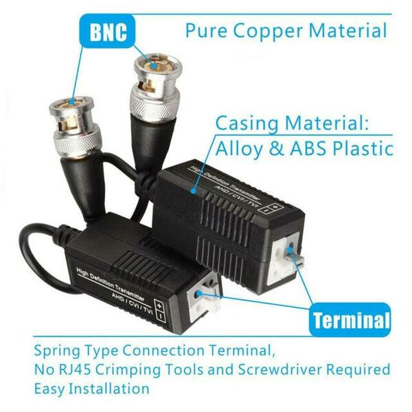 Generic CCTV.BALUN 1 Pair CCTV Single Channel Passive Transceiver CAT5 Push in BNC Male Video Balun