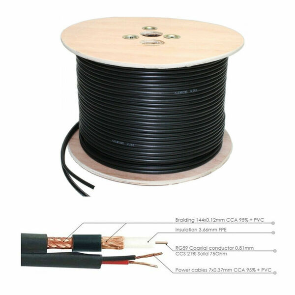 Generic  100M CCTV Shotgun Solid Copper Cable - RG59 COAX + 2 Core -Sheilded