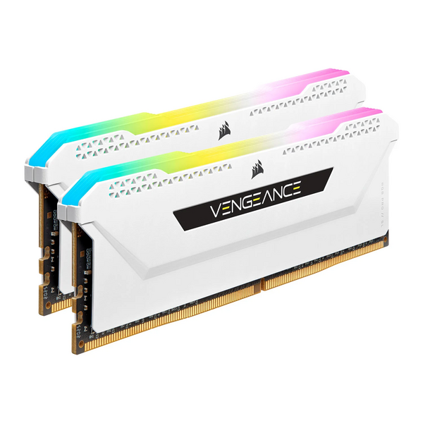 Corsair CMH32GX4M2E3200C16W 32Gb Corsair Vengeance RGB Pro SL Memory Kit (2 X 16Gb), DDR4, 3200Mhz, White Edition